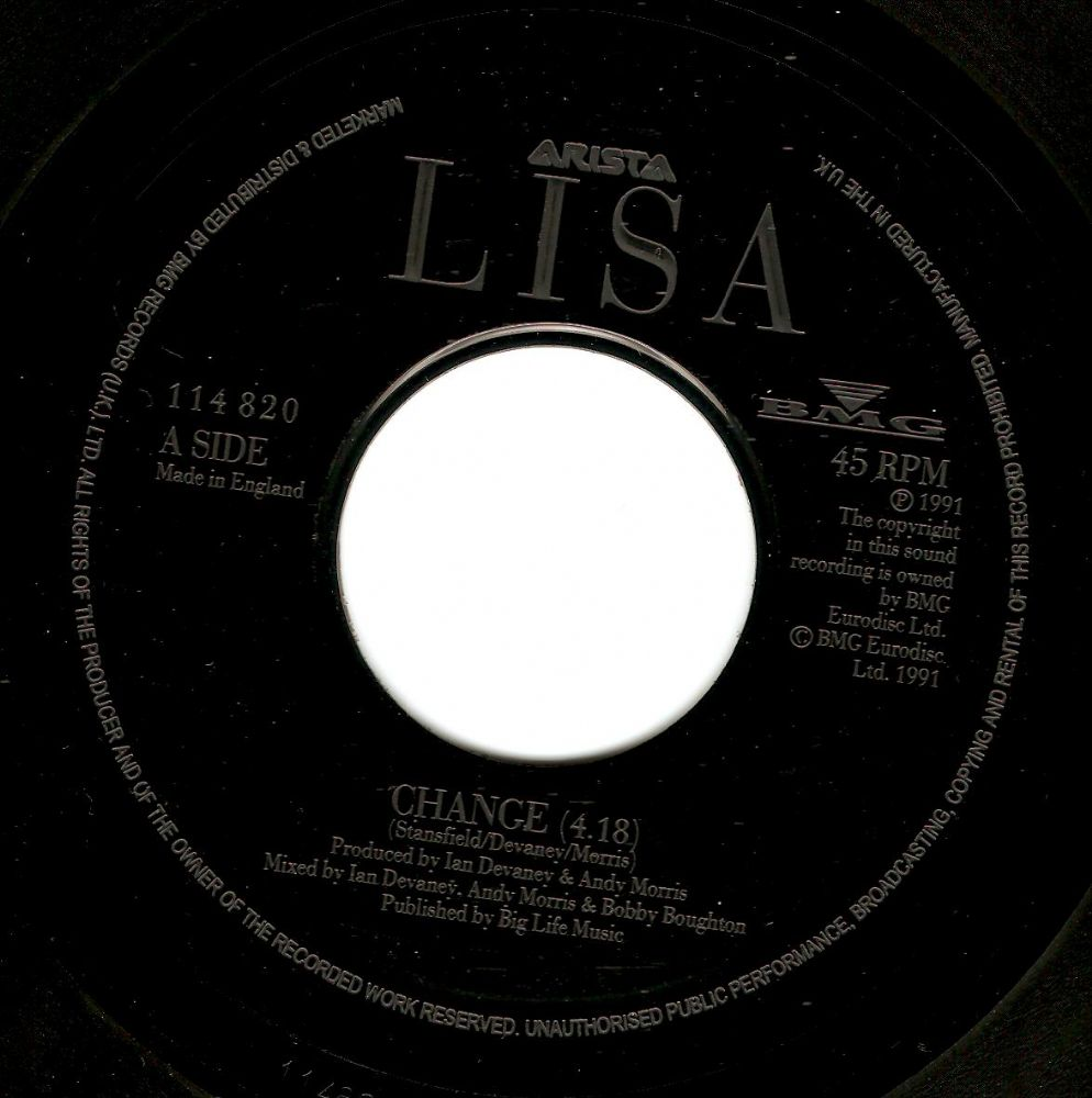 LISA STANSFIELD Change Vinyl Record 7 Inch Arista 1991
